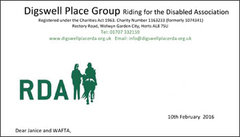 Riding for the Disabled thank you letter