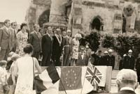 Singing the National Anthems at Welwyn Anglo-French Twinning Inaguration 1973